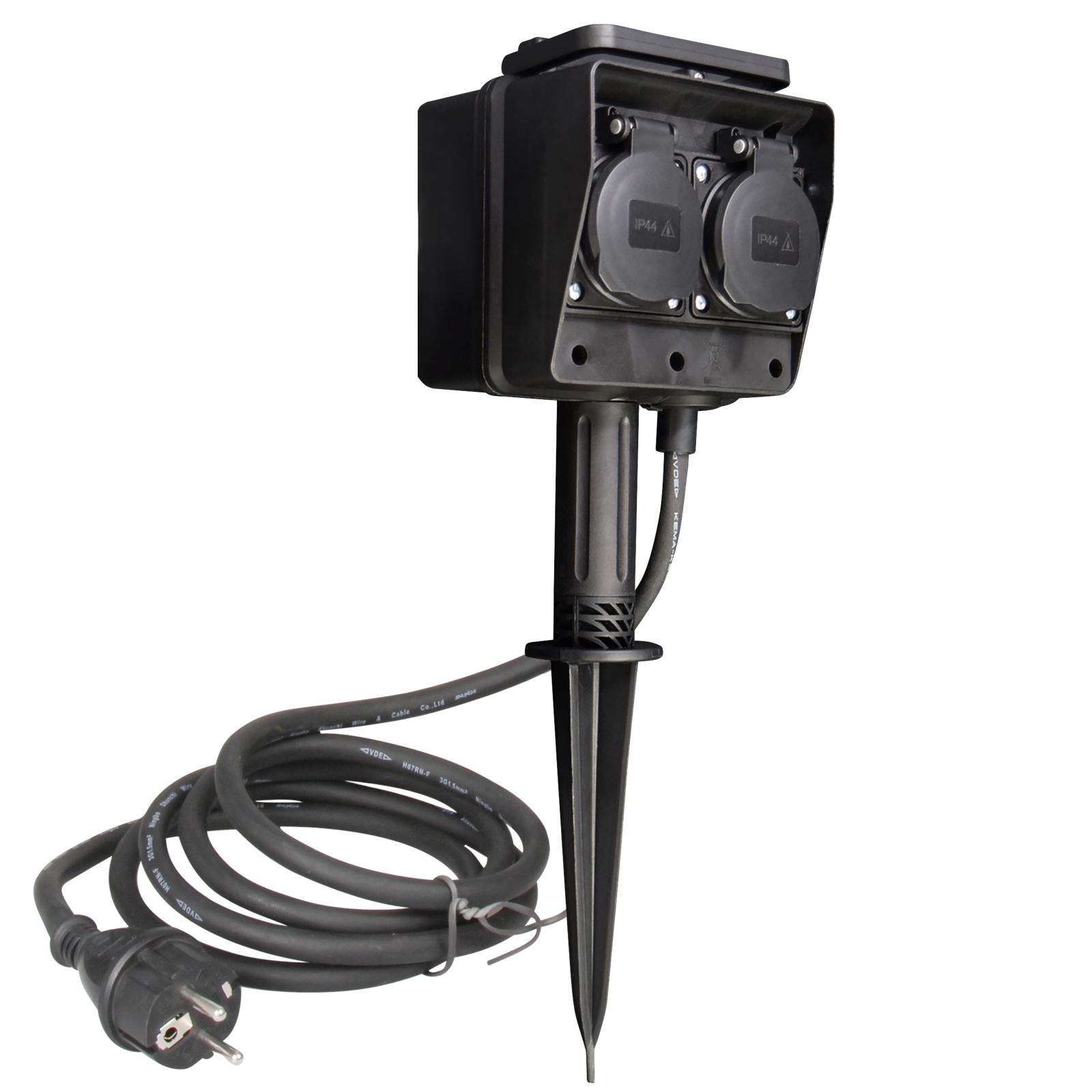 schwarze Garten-Steckdose mit Deckel 4-fach 3m Kabel IP44 ...
