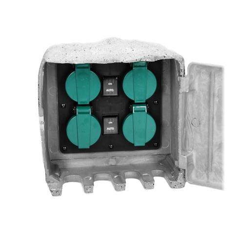 4er Sensor Garten Steckdose Stein Optik Außen Dämmerungsschalter