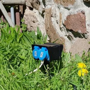 4 fach Gartensteckdose mit 2 Meter Kabel in der Wiese postioniert
