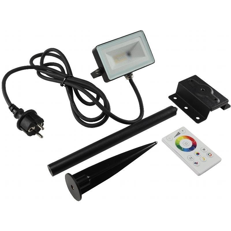 Fluchtlicht-Strahler Außen-Strahler-Leuchte A LED Fluter RGB+weiß 230V 10W EEK