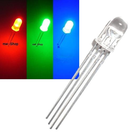 10 rgb led 5mm rouge vert bleu imposables 4-pin LED 3 Chip Multicolore Multicolore