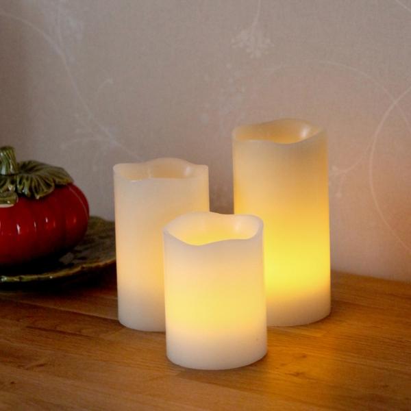 3er Set Led Kerzen Fernbedienung Timer Dimmbar Flammenlose Kerze