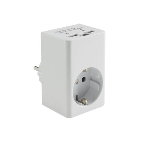 Zwischenstecker mit 2 USB Ladebuchsen universal USB-Adapter Netzteil zum Handy laden